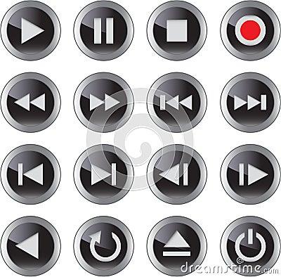 Free Multimedia Icon/button Set Stock Photo - 23362590
