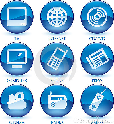 Multimedia icon set blue (vector)