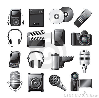 Free Multimedia Icons Royalty Free Stock Images - 9228929