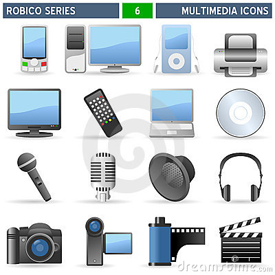 Free Multimedia Icons - Robico Series Royalty Free Stock Photos - 13315858