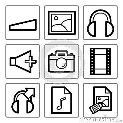 Multimedia icons set