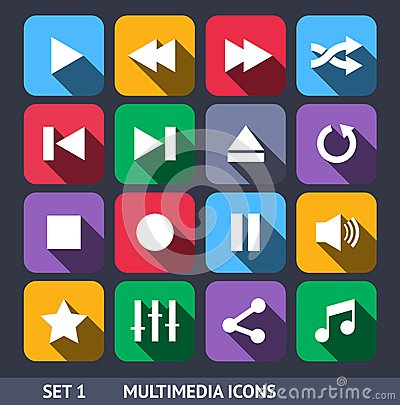 Multimedia Vector Icons With Long Shadow Set 1