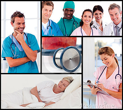 Multipanel of doctors attending to patients