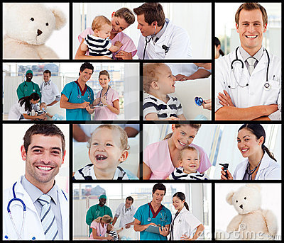 Multipanel of doctors with babies