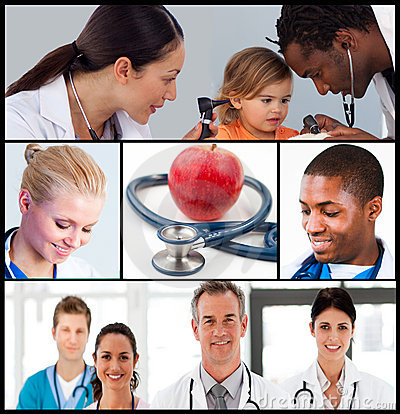 Multipanel of healthcare and nutrition concept