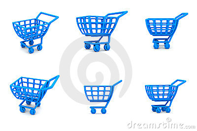 Multiple 3D Shopping Cart Blue