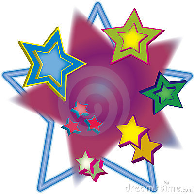 Multiple 3D Stars Illustration