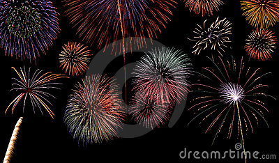 Multiple fireworks display background