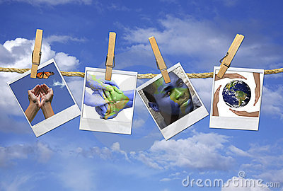 Multiple Images Relating to Global Issues Hanging