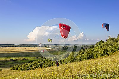 Multiple paragliders soar in the air