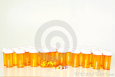 Multiple prescription drug bottles
