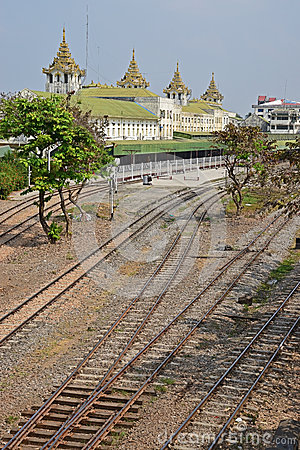 Free Multiple Railway Tracks Behind Yangon Central Railway Station Stock Photos - 51760183