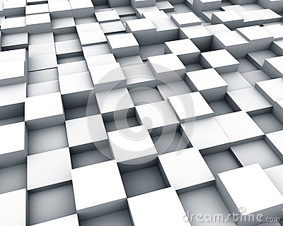 Multiple white cubes background