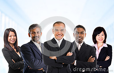 Multiracial Asian business team