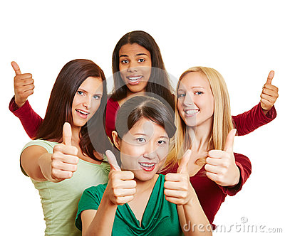 Multiracial group of women holding thumbs up