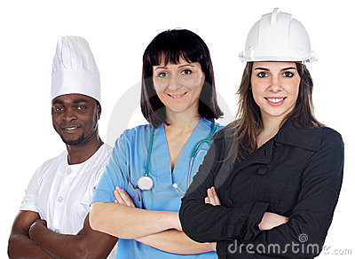 Multiracial group of workers