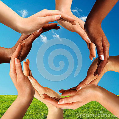 Free Multiracial Hands Making A Circle Together Stock Photo - 26676900