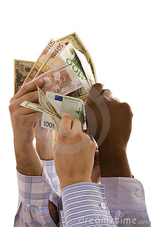 Multiracial hands with money