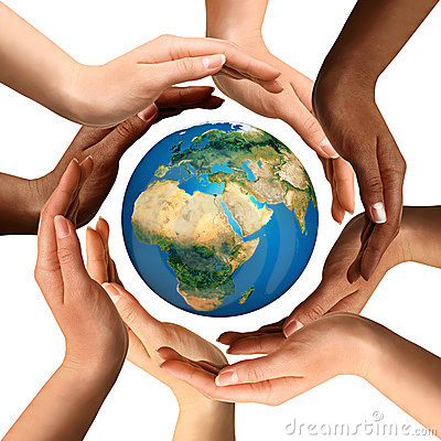 Free Multiracial Hands Surrounding The Earth Globe Royalty Free Stock Photo - 17206705