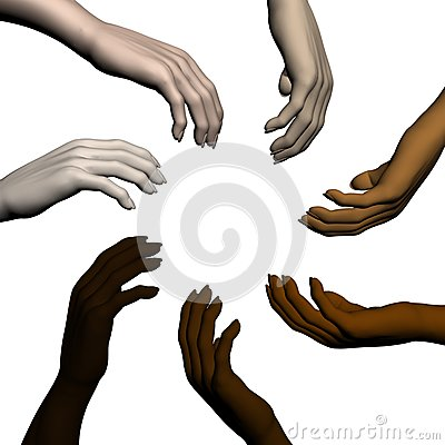 Multiracial human hands