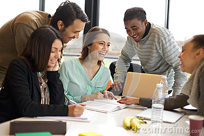 Multiracial young people enjoying group study