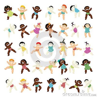 Multiraciale baby het lopen inzameling