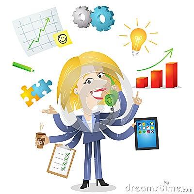 Multitasking blond business woman
