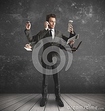 Free Multitasking Businessman Royalty Free Stock Image - 25591706