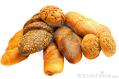Multitude fresh bread on white background