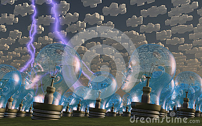Multitude of human head shaped bulbs puzzle clouds
