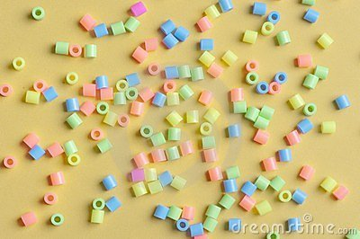 Multitude of plastic beads