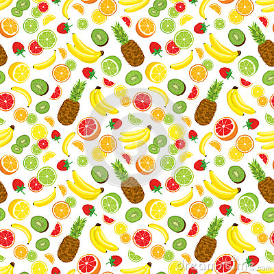 Free Multivitamin Seamless Background With Whole Pineapple, Fresh Green Kiwi Slices, Strawberries, Citrus Fruits And Bananas. Royalty Free Stock Images - 69650879