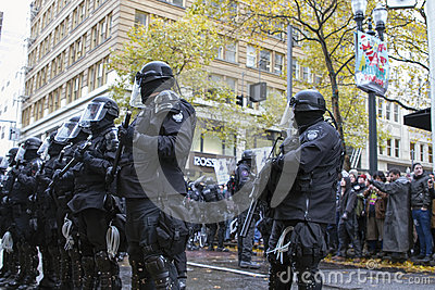 Multnomah County Sheriff in Riot Gear During Occupy Portland 201 Editorial Stock Image