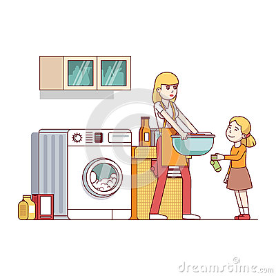 Mum and daughter doing housework in laundry room Vector Illustration