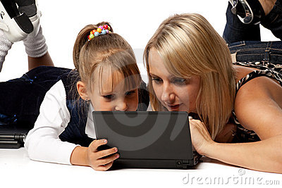 Mum and daughter with notebook
