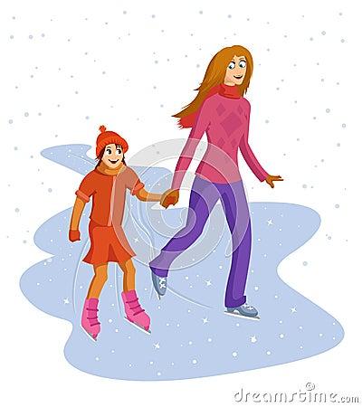 Mum and daughter skating