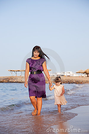 Mum and the daughter walk