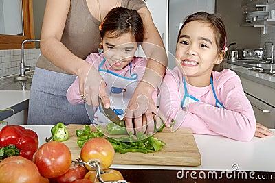 Mum and Daughters Chopping Veggies