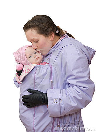Mum in sling-jacket with baby