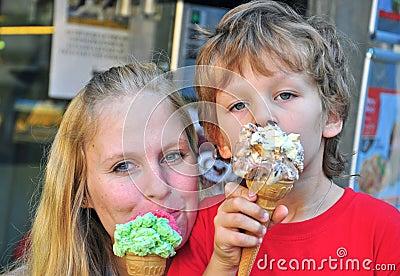 Mum and son having ice cream
