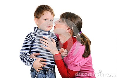 Mum wants to kiss the small son