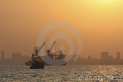 Mumbai harbor at sunset