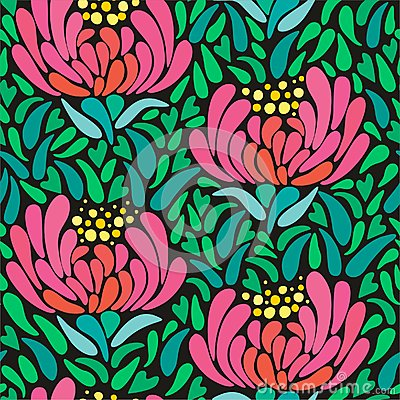 Mums flower seamless pattern