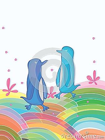 Mundo colorido del pingüino