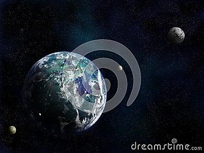 Mundo e luas novos
