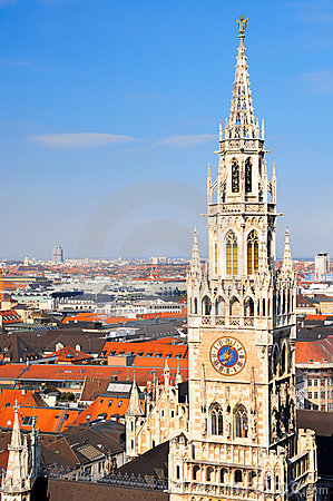Munich city center with New Town Hall tower
