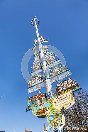 Free Munich, Germany, Bavarian Maypole On Viktualienmarkt Stock Image - 58593461