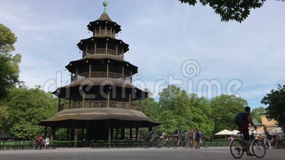 Chinese Tower in the English Garden of Munich, Germany stock footage