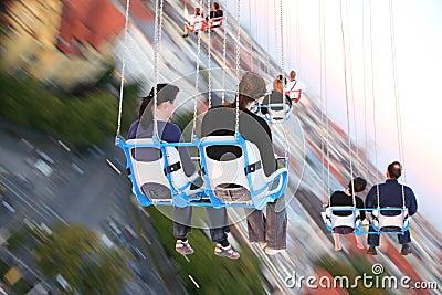 MUNICH, GERMANY - Oktoberfest: People on carousel Editorial Stock Photo