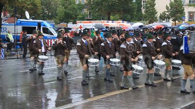 Music band at the annual opening parade of the Oktoberfest in Munich stock video footage